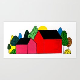 twin houses Art Print