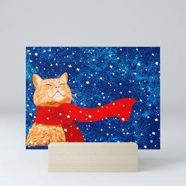 Tabby loves Snow... Mini Art Print