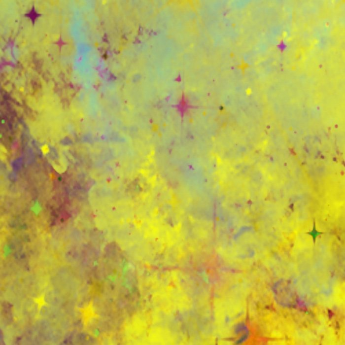 Pink Stars - Abstract space painting in yellow, blue and pink Leggings