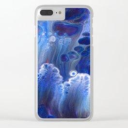 Blue Surf Lava Flow Cells Clear iPhone Case