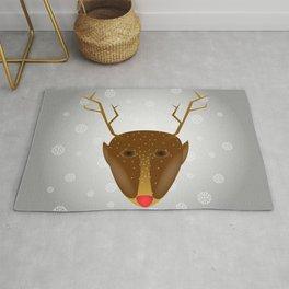 Cute Red-Nosed Reindeer - Silver Rug