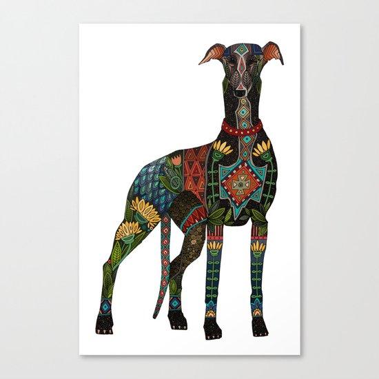 greyhound white Canvas Print