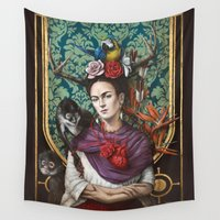 frida kahlo Wall Tapestries featuring Frida kahlo by Sophie Wilkins