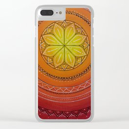 Yellow and Red Mandala Clear iPhone Case