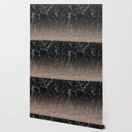 Glitter ombre - black marble & rose gold glitter Wallpaper