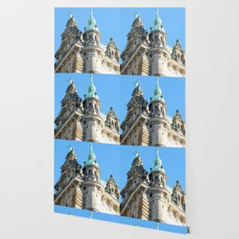 Low angle view of Town Hall in Hamburg Wallpaper