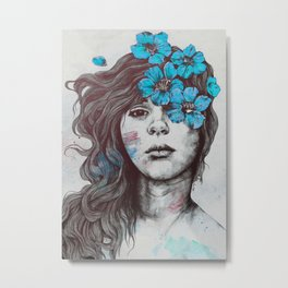 Softly Spoken Agony blue | flower girl pencil portrait Metal Print
