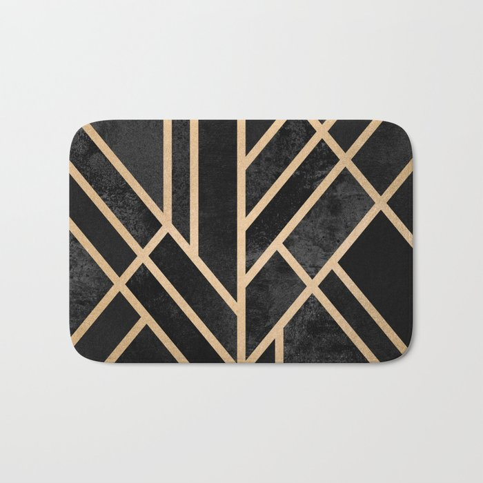 Art Deco Black Bath Mat