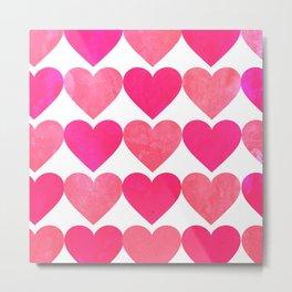 Pink Heart Pattern Metal Print