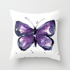 Purple Butterfly Watercolor Abstract Animal Art Throw Pillow