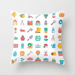 CUTE GARDENING PATTERN Throw Pillow