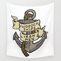 ships Wall Tapestries featuring WOODEN SHIPS & IRON MEN by ANOMIC DESIGNS