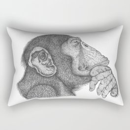 The thinker monkey Rectangular Pillow