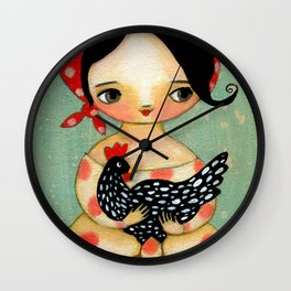 Babusha Girl with Speckled Chicken Wall Clock