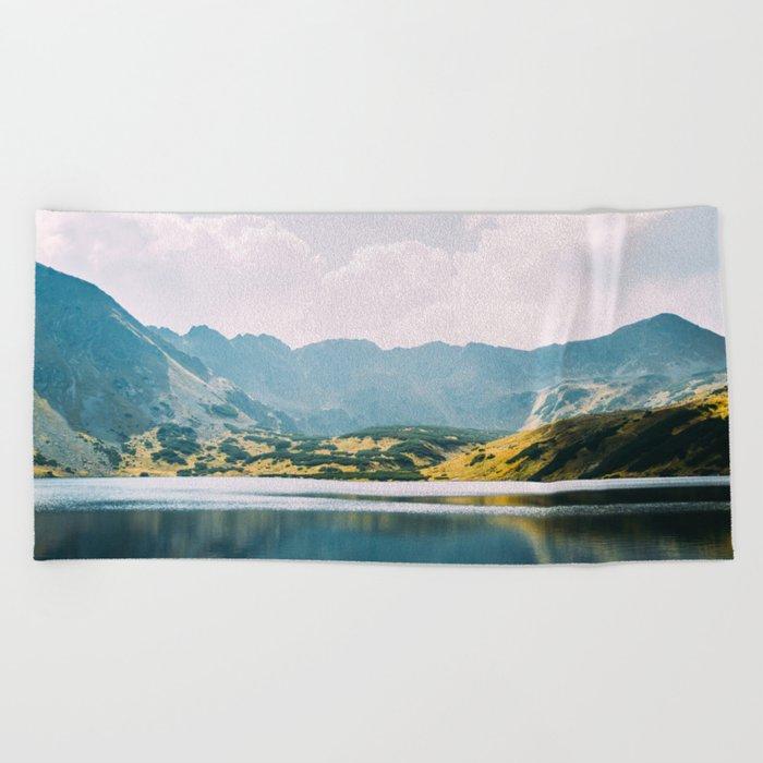 Autumn Mountain Lake Beach Towel