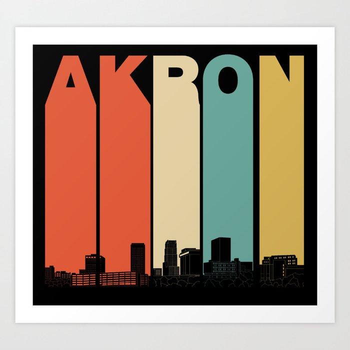 Vintage 1970's Style Akron Ohio Skyline Kunstdrucke
