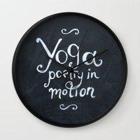 yoga Wall Clocks featuring YOGA! by Jon Cain