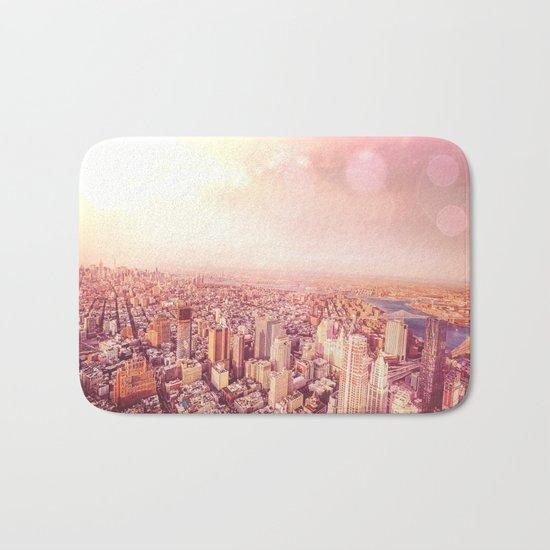 New York City Skyline of Light Bath Mat