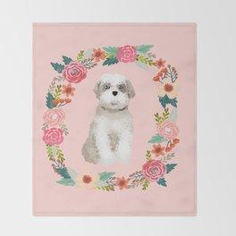 shih tzu floral wreath dog breed pure breed pet portrait Throw Blanket
