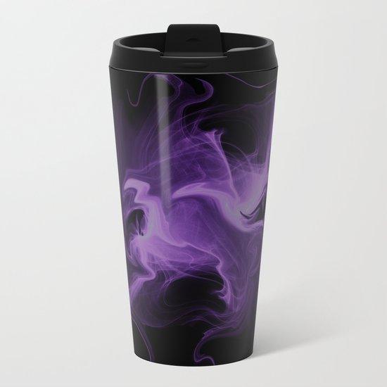 Magic ink abstract fractal purple Metal Travel Mug