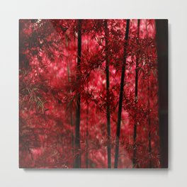 Red Bamboo Forest Metal Print