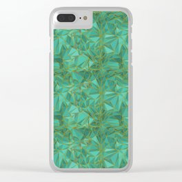 Triangular Structures Turquoise Geometric Facets with Gold Lines Clear iPhone Case