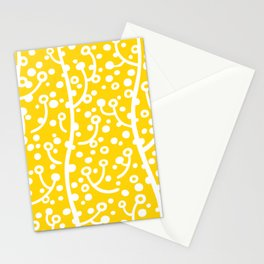 Mid Century Modern Spring Blossoms Yellow Stationery Cards