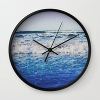 relax Wall Clocks featuring Relax by Leah Flores