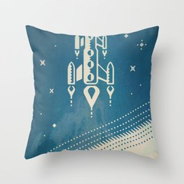 SpaceX retro-futuristic poster design Throw Pillow