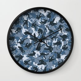 Ice Hockey Player Camo URBAN BLUE Wall Clock
