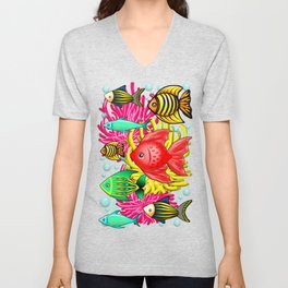 Fish Cute Colorful Doodles Unisex V-Neck