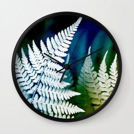 Blue Fern Leaf Art Wall Clock