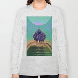 Surfing The Big Wave Searching Mermaids Long Sleeve T-shirt