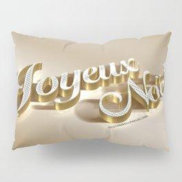 Joyeux Noel golden 3d inscription Merry Christmas in French 3d art golden christmas background metal Pillow Sham