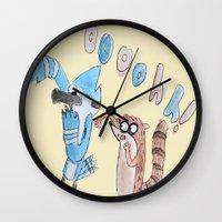 regular show Wall Clocks featuring The Regular Show  by Renatta Maniski-Luke
