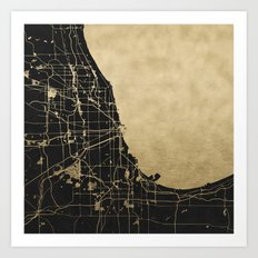 Chicago Black and Gold Street Map Art Print