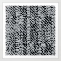 Hand Knit Grey And Black Art Print