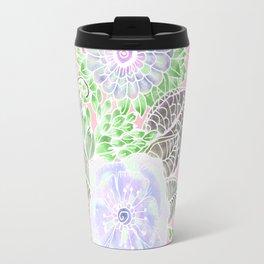 Blush pink lavender green white watercolor flowers Travel Mug