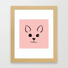 Cute Adorable Hand Drawn Kitty Face Pink and Black Framed Art Print