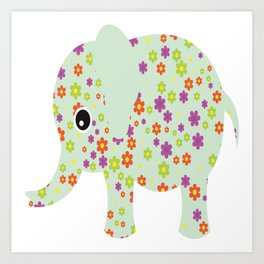 cute floral elephant Art Print