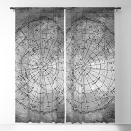 Old Metal Northern Constellation Map Blackout Curtain