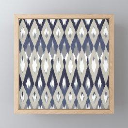 Festive, Boho Art, Geometric, Ikat Pattern, Blue and Gray Framed Mini Art Print