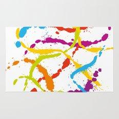 Splattered Rainbow [WHITE] Rug