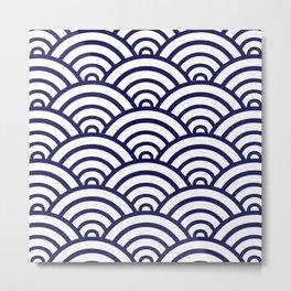 Navy Blue Scallop Pattern Metal Print