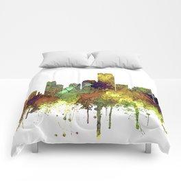 Jersey City Skyline - Safari Buff Comforters