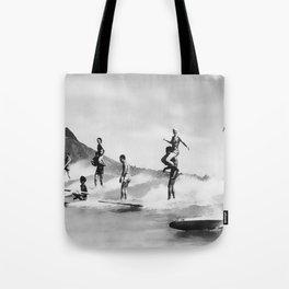 Vintage Surfing in Hawaii Tote Bag