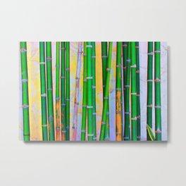 Tropical Bamboo Wood Metal Print