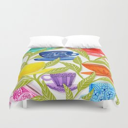 Tea Cups, Patterns, and Leaves Duvet Cover