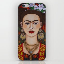 Frida Kahlo with butterflies iPhone Skin