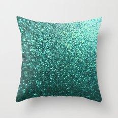Teal Aqua Glitter Sparkle Throw Pillow